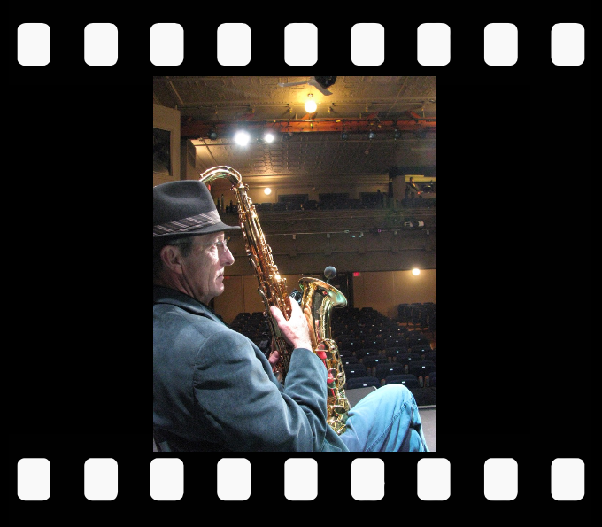 Jack deKeyzer Band sax man Richard Thornton at a sound check