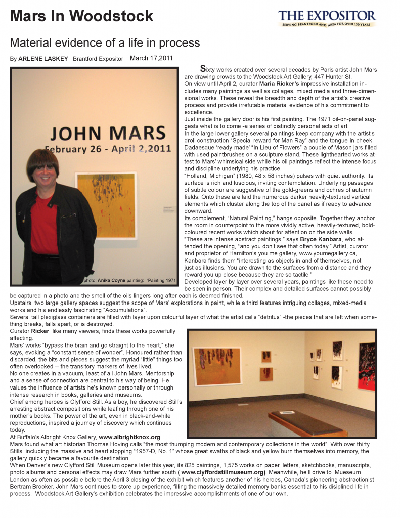 Mars in Woodstock : Material evidence of a life in process by Arlene Laskey for the Brantford Expositor